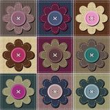 Patchwork background with scrapbook flowers Royalty Free Stock Photo