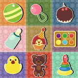 Patchwork background with scrapbook objets Stock Photography