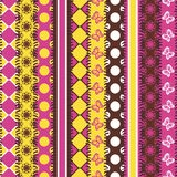 Patchwork background with strips of fabrics Stock Photos