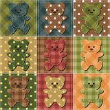 Patchwork background with teddy bears Stock Images