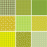 Patchwork backgrounds. Set from nine samples of fabric patterns Royalty Free Stock Image