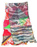 Patchwork and batik scarf isolated on white Stock Image