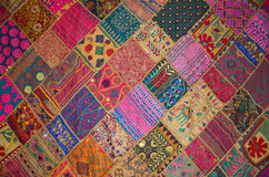 Patchwork bedspread in the eastern style Royalty Free Stock Photo