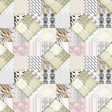 Patchwork beige pink squares seamless pattern texture Stock Image
