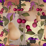 Patchwork berry pattern with fruits background Royalty Free Stock Photography