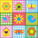Patchwork with birdhouse. Patchwork with birds and birdhouses. Baby seamless background Stock Image