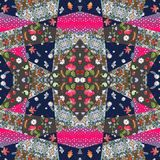 Patchwork blanket. Ethnic print for fabric. Summer design Royalty Free Stock Image