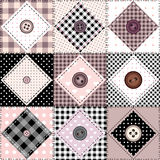 Patchwork with buttons Stock Photos