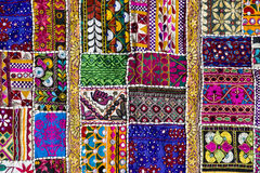 Patchwork carpet in India. Detail patchwork carpet. Close up royalty free stock photos