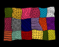 Patchwork carpet, sketch for your design Royalty Free Stock Images