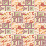 Patchwork checkered floral fabric texture pattern background Stock Photo