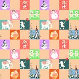 Patchwork for children. Vector animal seamless pattern with elephant, dragon, monkey, castle, crocodile, toys, and cake. Stock Images
