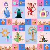 Patchwork for children. Vector fantasy background with a fairy, dragon, monkey, castle, teapot and cups, birds, butterflies, tree. Town, toys, cake, dress and Stock Photos