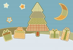 Patchwork Christmas. Christmas illustration stylized as homemade patchwork Stock Photo