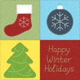 Patchwork with Christmas motifs vector illustration
