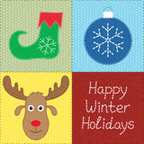 Patchwork with Christmas motifs Stock Photography