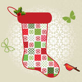 Patchwork Christmas Stocking Stock Photos