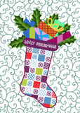 Patchwork Christmas Stocking royalty free stock photography