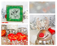 Patchwork Christmas theme. Christmas table decoration with hearts Royalty Free Stock Photos