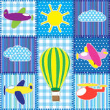 Patchwork with colorful aircraft Stock Image