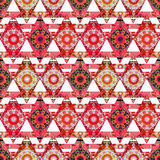 Patchwork. Colorful ethnic pattern with decorative stripes.white background. Stock Images