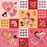 Patchwork colorful with hearts and butterfly. Seamless pattern. Golden glittering elements. Scrapbooking series. Vector background. Gold red pink colors Stock Photo
