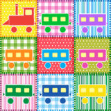 Patchwork with colorful train Stock Photo