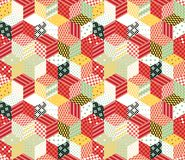 Patchwork. Colorful vector backdrop with cubes and stars. Seamless vector pattern. Royalty Free Stock Image