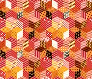 Patchwork. Colorful vector background with cubes and stars from different patches Royalty Free Stock Photography
