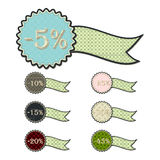 Patchwork concept of ribbon discount tag set Royalty Free Stock Image