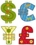 Patchwork Currency Symbols Stock Photos