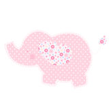 Patchwork cute elephant isolated vector illustration. Nice template for baby shower, child album and scrapbook. Pink shades Stock Photography