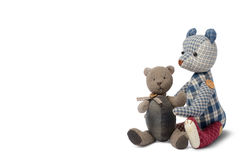 Patchwork d'ours de couples d'isolement sur le fond blanc Photographie stock