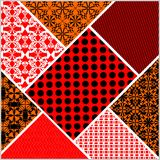 Patchwork decorative  abstract tile in style stitched textile patches  Stock Images