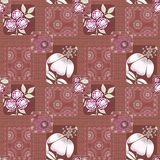 Patchwork decorative seamless pattern brown background . Stock Photo