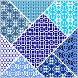 Patchwork decorative vector abstract tile in style stitched textile patches with different ornament in blue and white. Vector eps10 Stock Photography
