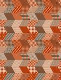 Patchwork in den warmen Herbstfarben Ethnisches boho nahtloses Muster Lizenzfreies Stockbild