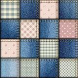 Patchwork of denim fabric Stock Photo