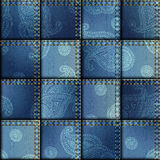 Patchwork of denim fabric Royalty Free Stock Images
