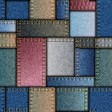 Patchwork of denim fabric Stock Photography