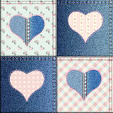 Patchwork of denim fabric. Royalty Free Stock Photo
