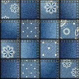 Patchwork of denim fabric Stock Photos