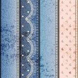 Patchwork of denim fabric Stock Image