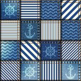 Patchwork of denim fabric Stock Photos
