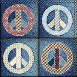 Patchwork of denim fabric Royalty Free Stock Photography