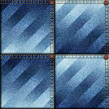 Patchwork of denim fabric. Royalty Free Stock Images