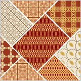 Patchwork design in art deco style. Decorative vector abstract tile in style stitched textile patches with different ornament  Royalty Free Stock Images