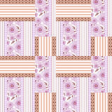 Patchwork design floral fabric texture pattern retro background Stock Image