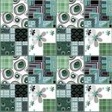 Patchwork design green floral pattern background Stock Images