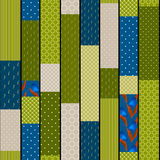 Patchwork design seamless pattern blue green ornament background Royalty Free Stock Photos